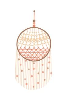 Macramé dreamcatcher ontwerp vectorillustratie. wanddecoratie met franje van draad. indiase traditionele amulet, bescherming tegen slechte dromen. boho, etnische handgemaakte knoop ambachtelijke decor.