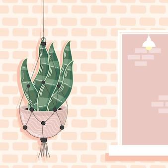 Macramé hanger in de muur