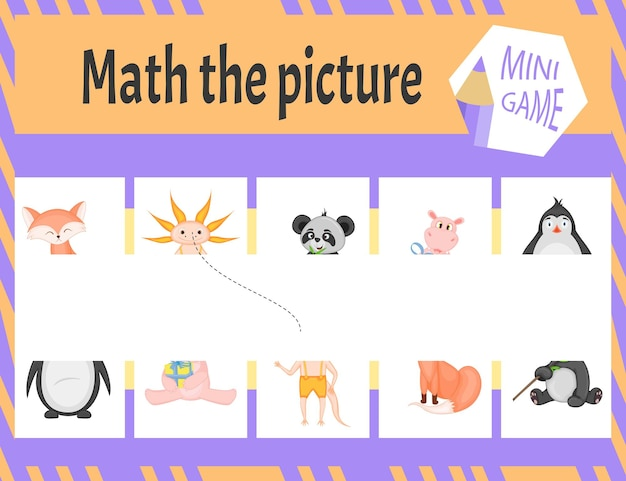 Macth het beeld minispel voor kinderen. cartoon-stijl. vector illustratie.