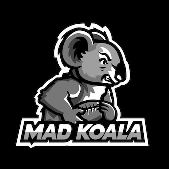 Mad koala esport logo sjabloon