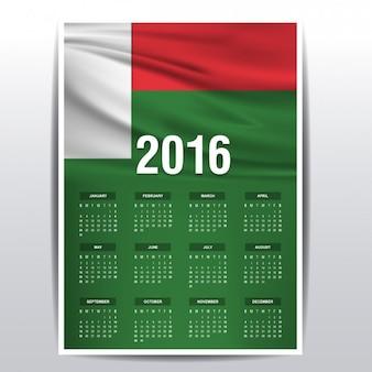 Madagascar kalender van 2016