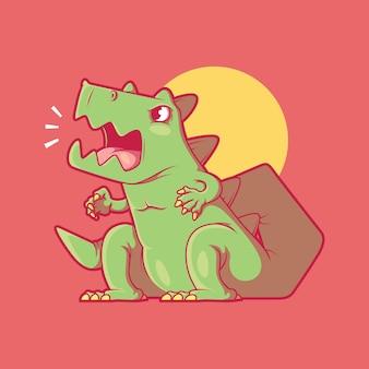 Madzilla monster karakter vector illustratie halloween schattig grappig ontwerpconcept