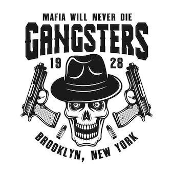Maffia-embleem met schedel in hoed en twee kanonnen