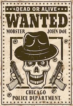 Maffia gezocht vintage poster met schedel