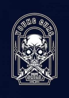 Maffia schedel illustratie voor t-shirt