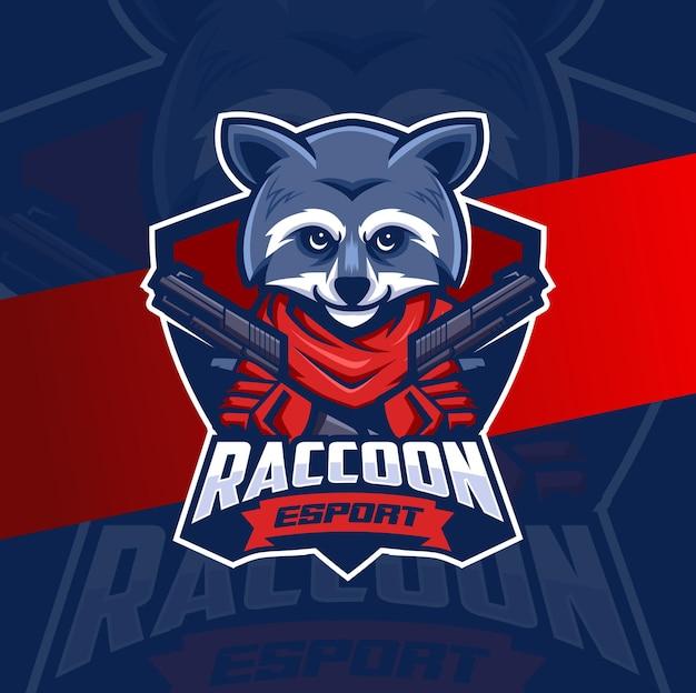 Maffia wasbeer met pistool mascotte esport logo ontwerpkarakter