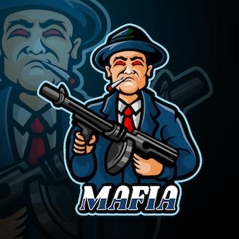 Mafia mascotte esport logo ontwerp