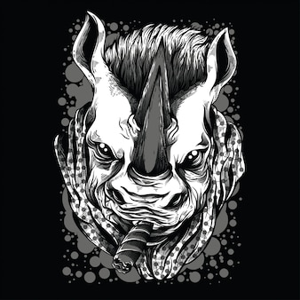Mafia rhino zwart en wit illustratie
