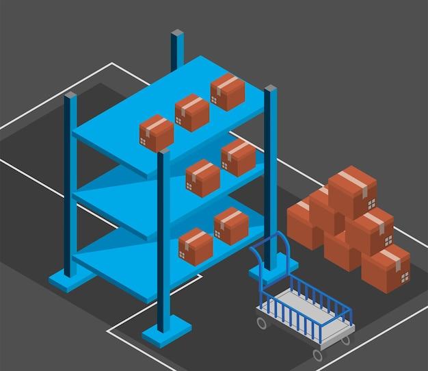 Magazijn dozen industrie