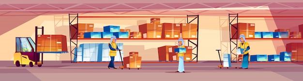 Magazijn en arabische arbeidersillustratie van logistiekpakhuis met goederen op plank.