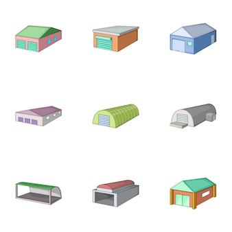 Magazijn gebouw iconen set, cartoon stijl