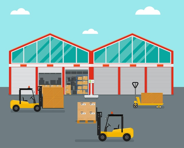 Magazijn in vlakke stijl. vorkheftruck met dozen en kratten. de container voor opslag. industriële architectuur. vector illustratie.