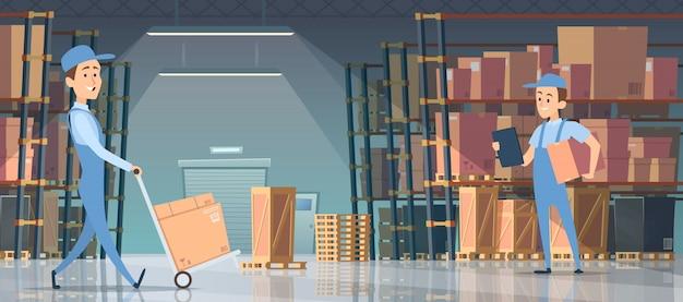Magazijn interieur. grote kamer met dozen op pallet planken mensen laders werken binnenkant magazijn