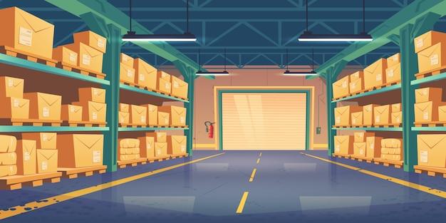Magazijn interieur, logistiek, vracht levering