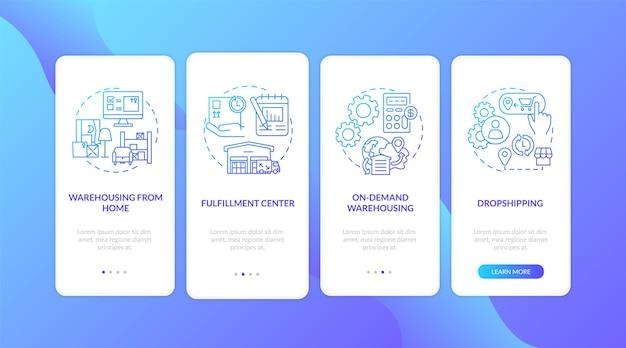 Magazijn klantenservice donkerblauw onboarding mobiele app paginascherm met concepten