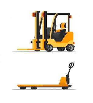 Magazijn lege vorkheftrucks illustraties set, gele mechanische lader clipart, magazijn, winkelcentrum professionele machines, uitrusting. distributie, logistiek, verzending