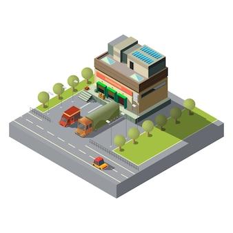 Magazijn met 3d 3d isometrisch van vrachtauto's