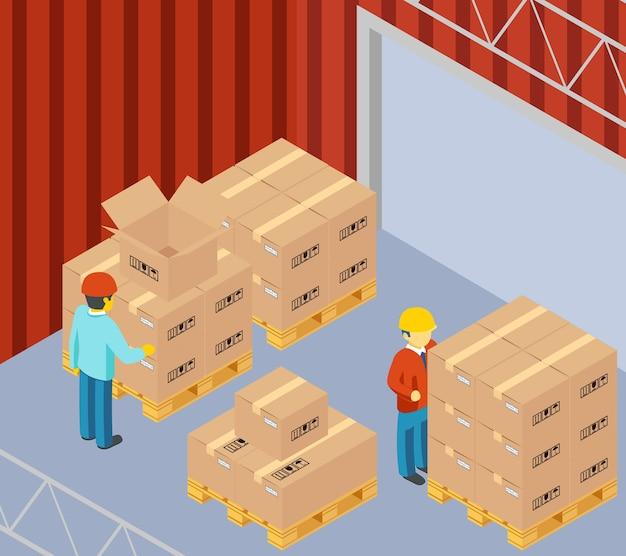 Magazijn met kartonnen dozen op pallets. pakket en winkelier, arbeider en man, bezorgcontainer
