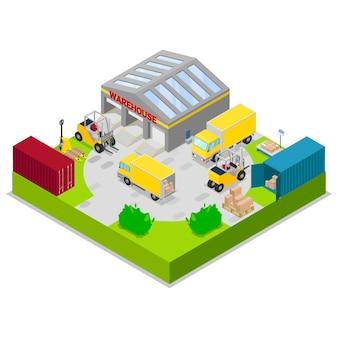 Magazijn opslag en verzending logistiek vector illustratie. opslag en transport vracht, levering en verzending magazijn isometrische concept met vrachtwagens en heftrucks.