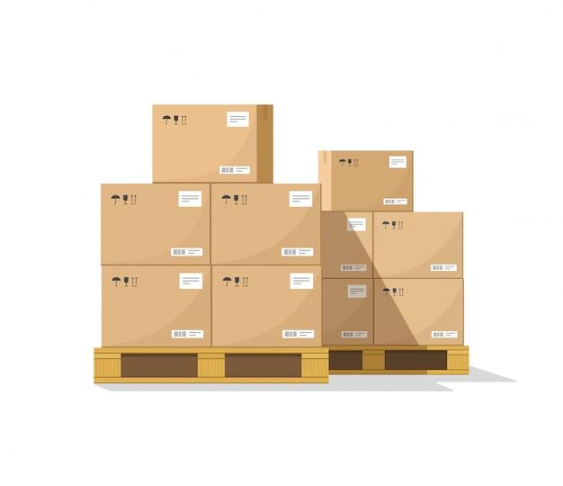 Magazijn pakket dozen stapel