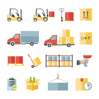 Magazijn transport en levering pictogrammen
