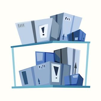 Magazijn van goederen in dozen. vectorillustratie in vlakke stijl