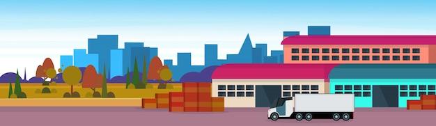 Magazijn vracht semi vrachtwagen logistiek laden levering transport concept internationale verzending