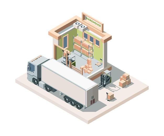 Magazijngebouw met isometrische vrachtwagen en lading. logistiek.