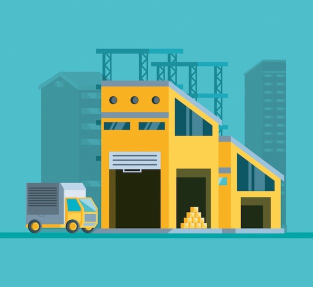 Magazijngebouw met vrachtwagenbezorgservice