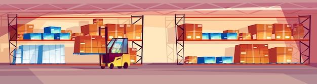 Magazijnillustratie van logistiekvervoer en industriële goederenbergruimte.