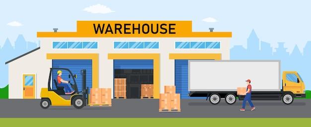 Magazijnindustrie met opslaggebouwen, vrachtwagens, heftruck en stelling met kisten.