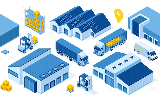 Magazijnindustrie met opslaggebouwen