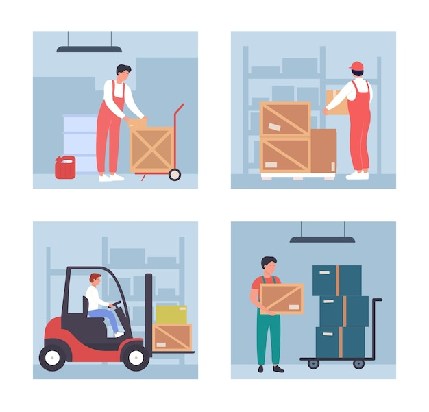Magazijnlader met werknemersmensen die werken in het magazijn van de groothandel, magazijnproces