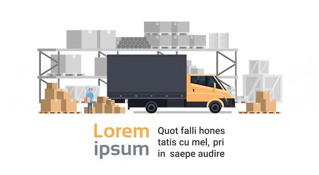Magazijnlevering, truck car over containers building. verzend- en transportconcept
