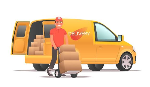 Magazijnmedewerker die goederen uit de bestelwagen haalt bezorgservice en transportlogistiek
