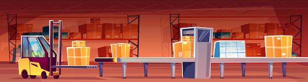 Magazijnmedewerker in heftrucklader plaatst pakketten op transportband