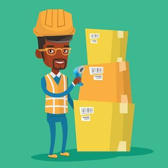 Magazijnmedewerker scannen barcode op doos.
