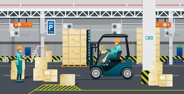Magazijnmedewerkers controleren en sorteren de goederen veilig