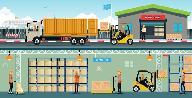Magazijnmedewerkers schikken goederen in de schappen.