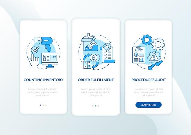 Magazijnprocedures blauw onboarding mobiel app-paginascherm met concepten