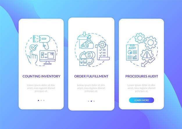 Magazijnprocedures donkerblauw onboarding mobiel app-paginascherm met concepten