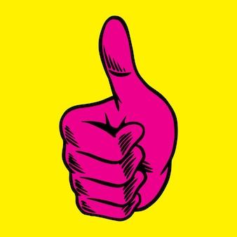 Magenta roze duim omhoog sticker-overlay op een gele achtergrond