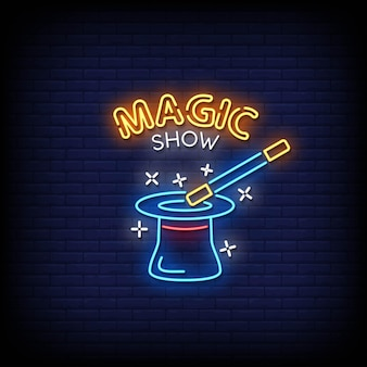 Magic show neon signs style tekst vector
