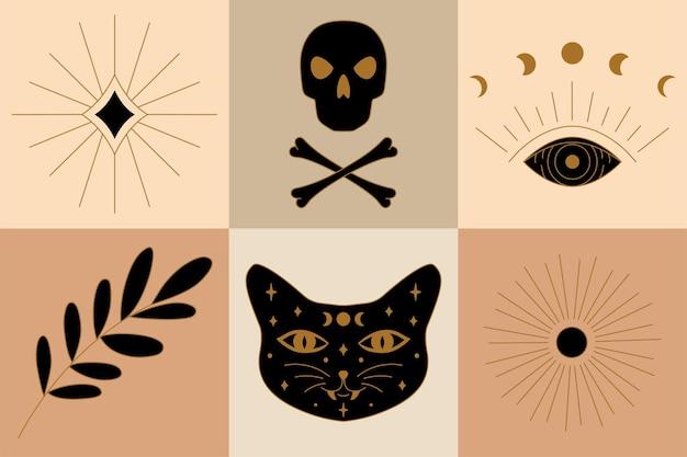 Magie en hekserij ontwerpen in vector