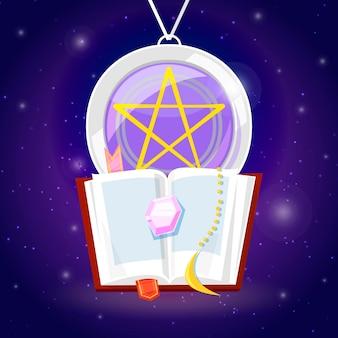 Magie en tovenaarsverzamelitems om achtergrond met magische spreuken te casten.