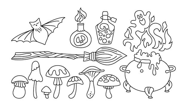 Magie set halloween doodle heks elementen heks ketel vleermuis giftige tovenaar bezem komisch feest