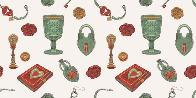 Magie van liefde naadloze patroon van vintage old school-object