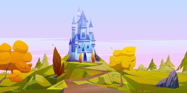 Magisch blauw kasteel op groene heuvel met gele bomen.