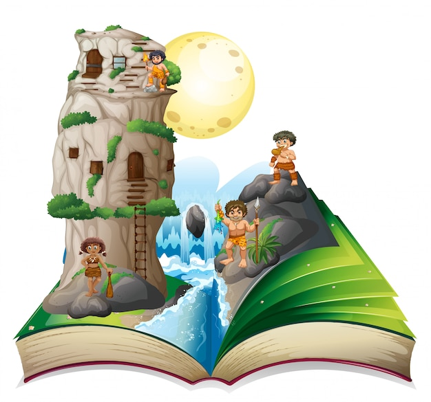 Magisch boek met grotmensen bij de waterval
