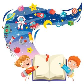 Magisch conceptontwerp met grappige kinderen